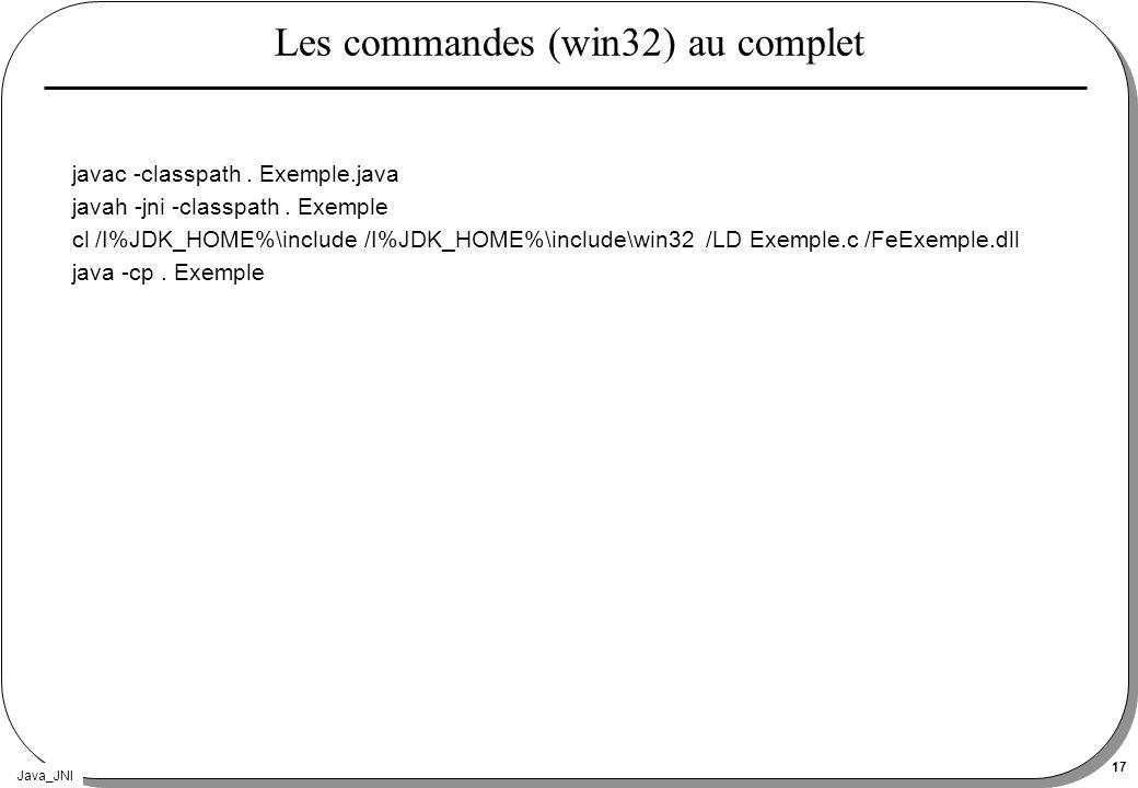 Les commandes (win32) au complet