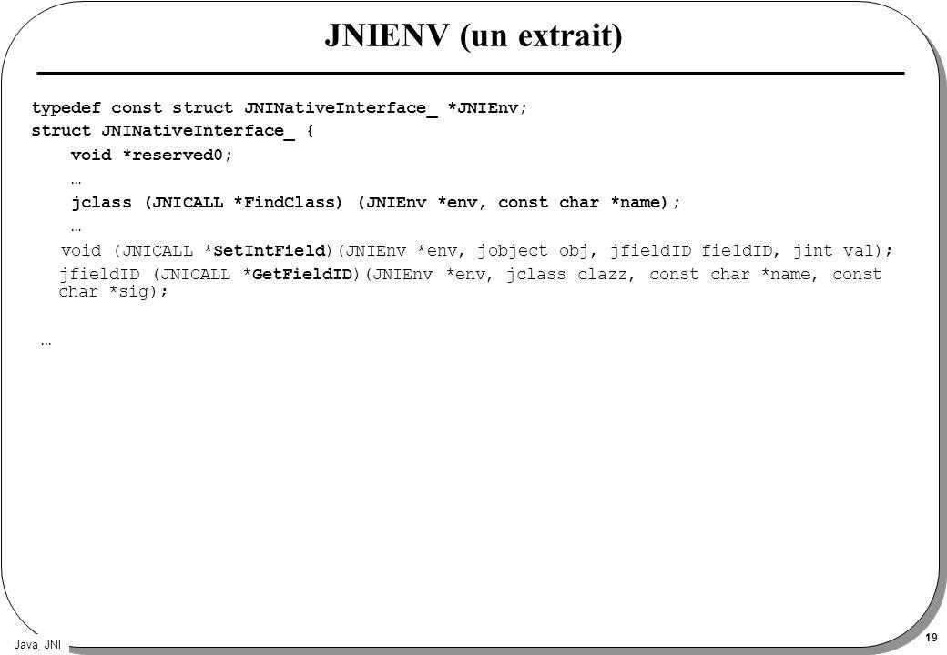 JNIENV (un extrait) typedef const struct JNINativeInterface_ *JNIEnv;