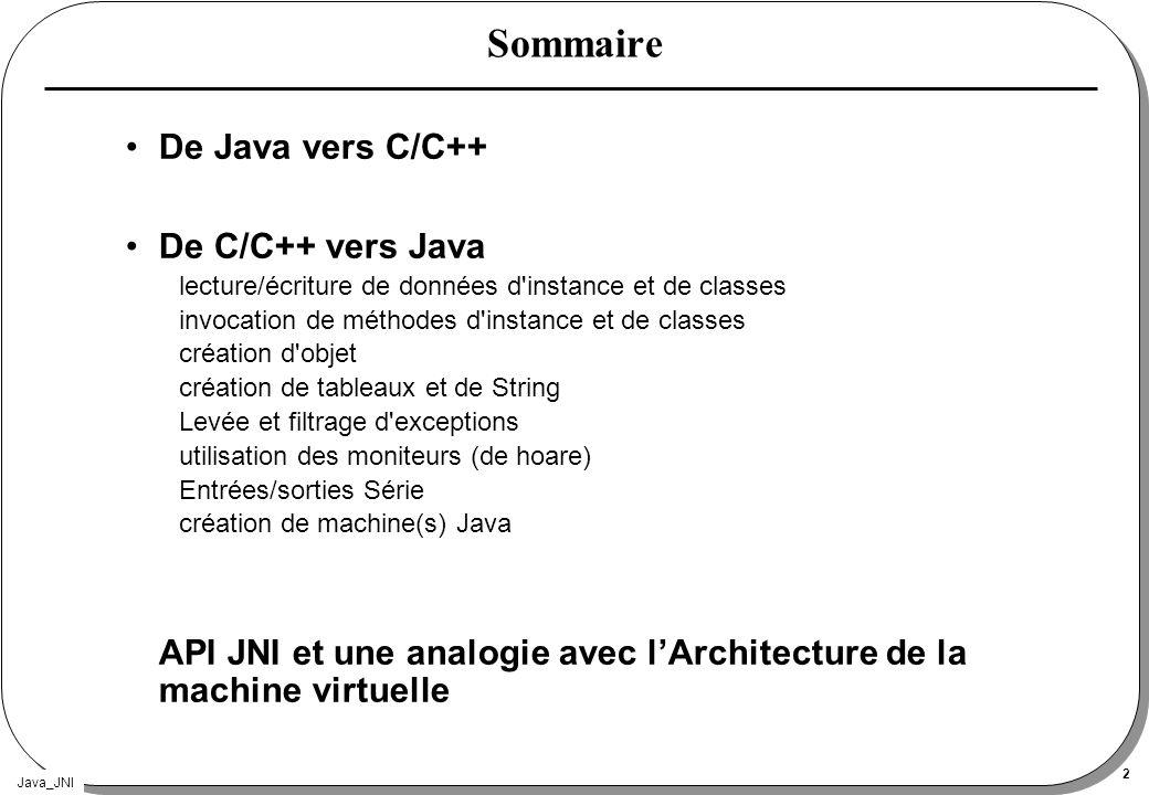 Sommaire De Java vers C/C++ De C/C++ vers Java