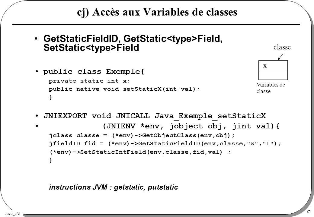 cj) Accès aux Variables de classes