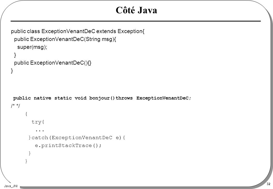 Côté Java public class ExceptionVenantDeC extends Exception{ public ExceptionVenantDeC(String msg){