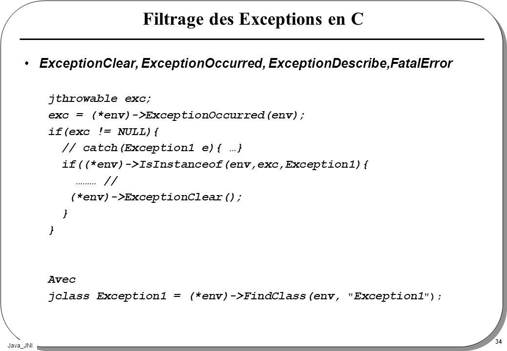 Filtrage des Exceptions en C