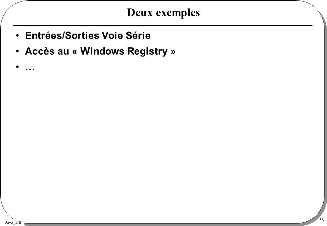 Deux exemples Entrées/Sorties Voie Série Accès au « Windows Registry »
