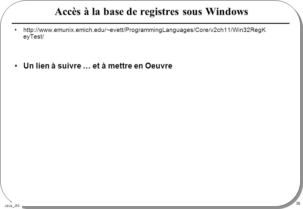 Accès à la base de registres sous Windows