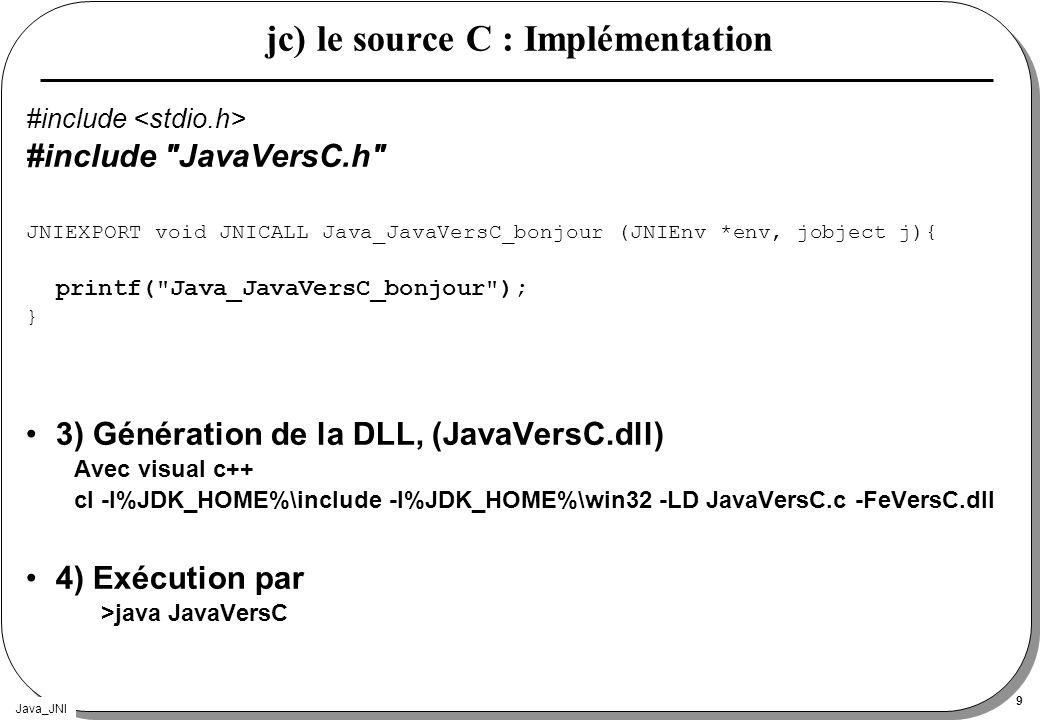 jc) le source C : Implémentation