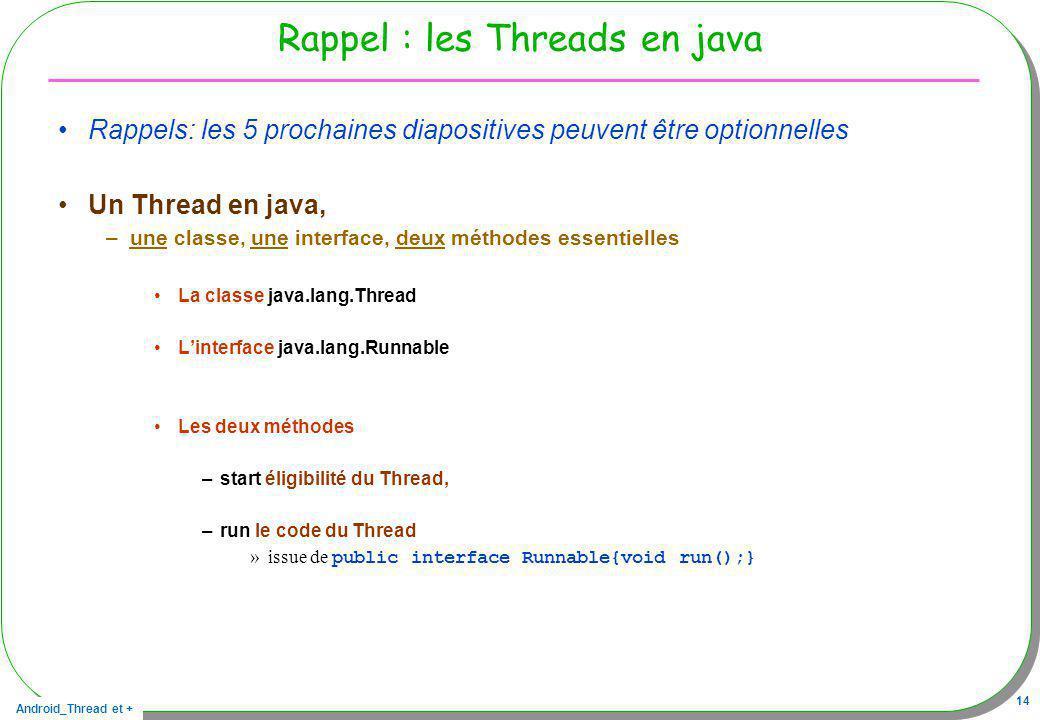 Rappel : les Threads en java