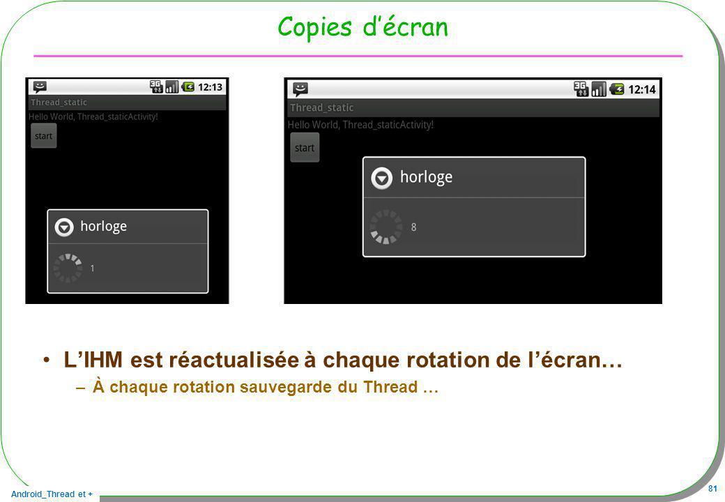 Copies d'écran L'IHM est réactualisée à chaque rotation de l'écran…