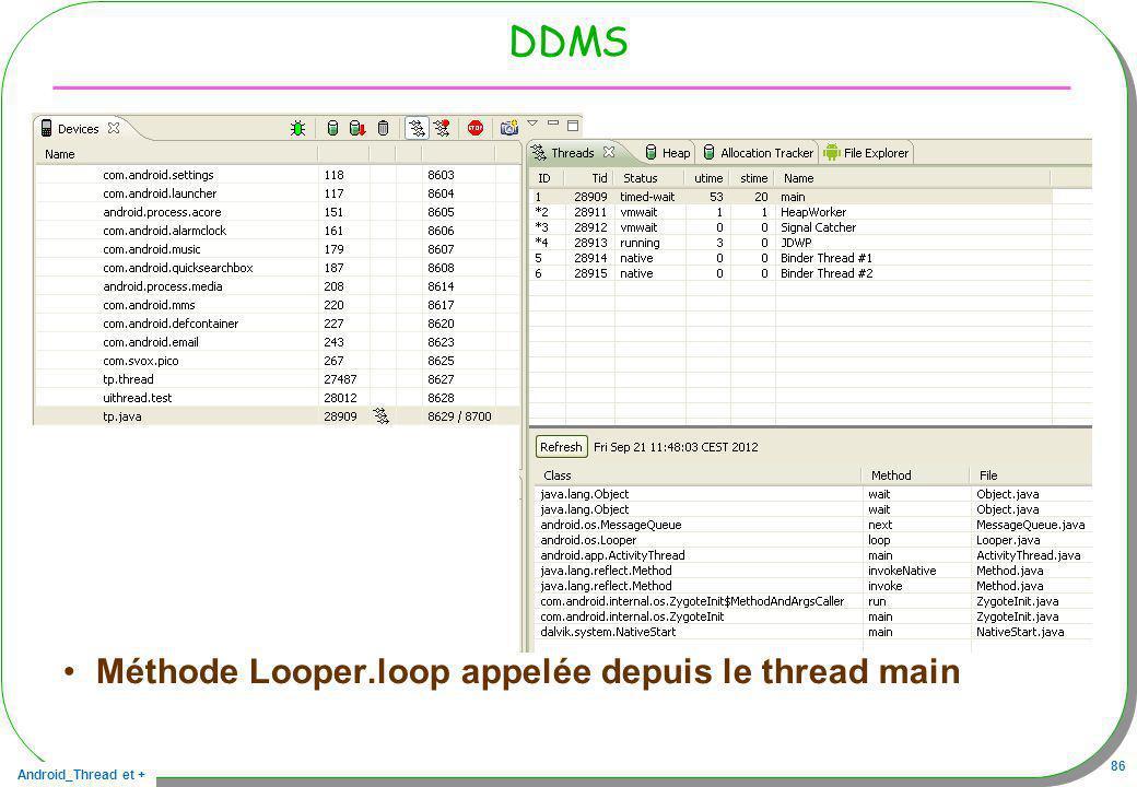 DDMS Méthode Looper.loop appelée depuis le thread main