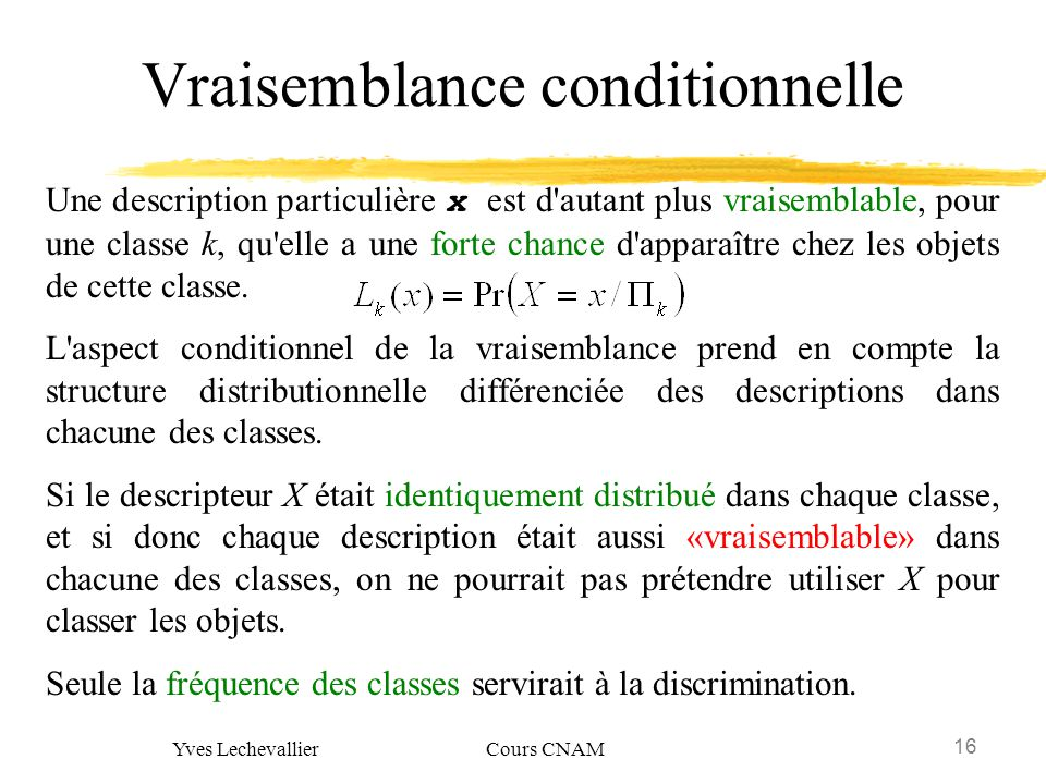 Vraisemblance conditionnelle
