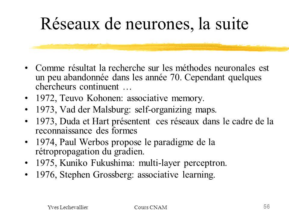 Réseaux de neurones, la suite
