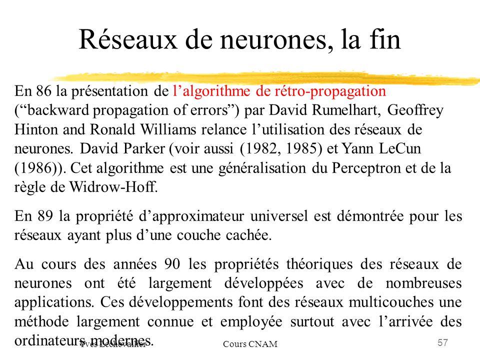 Réseaux de neurones, la fin