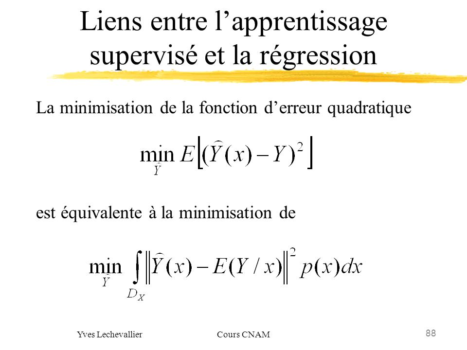 Liens entre l'apprentissage supervisé et la régression