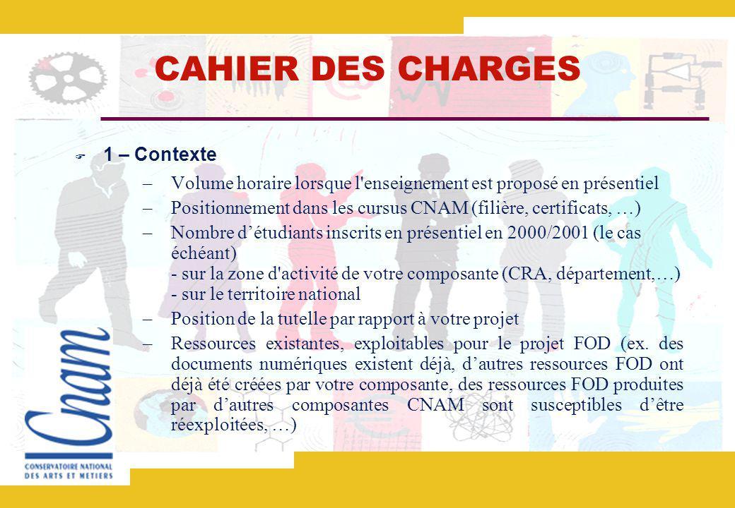 CAHIER DES CHARGES 1 – Contexte