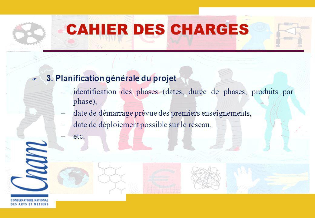 CAHIER DES CHARGES 3. Planification générale du projet