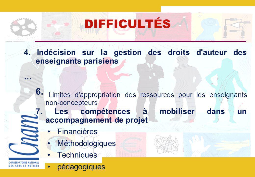 DIFFICULTÉS 4. Indécision sur la gestion des droits d auteur des enseignants parisiens. …
