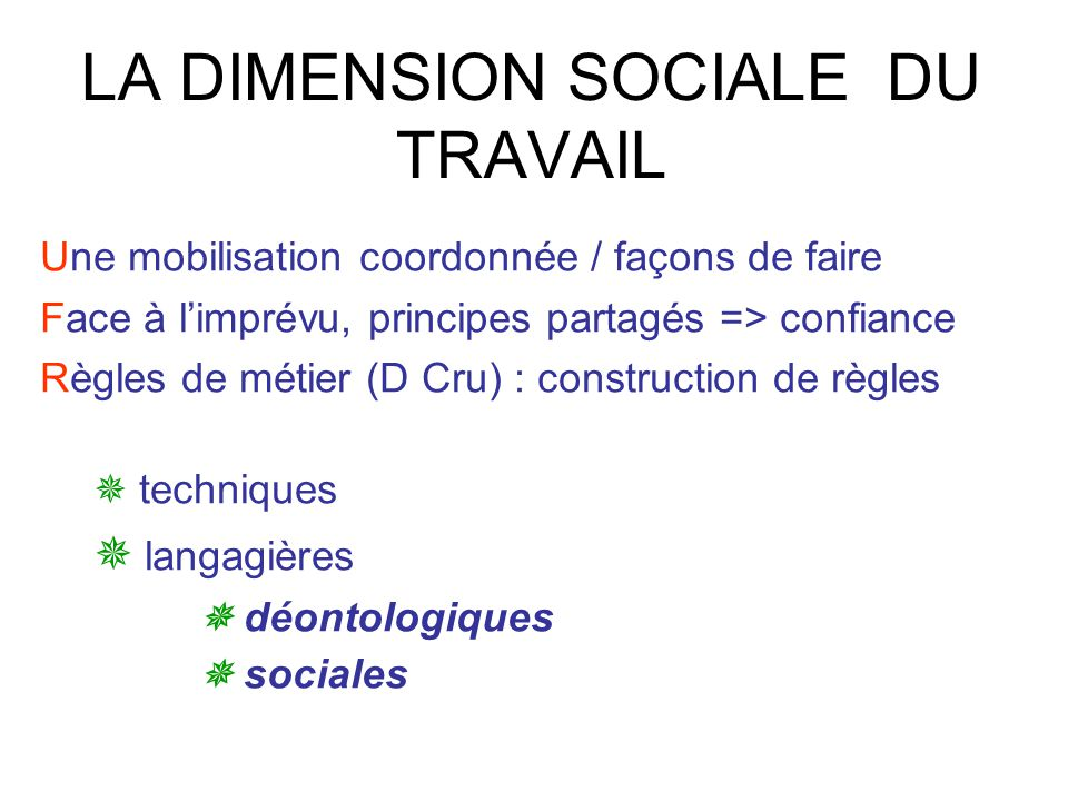 LA DIMENSION SOCIALE DU TRAVAIL
