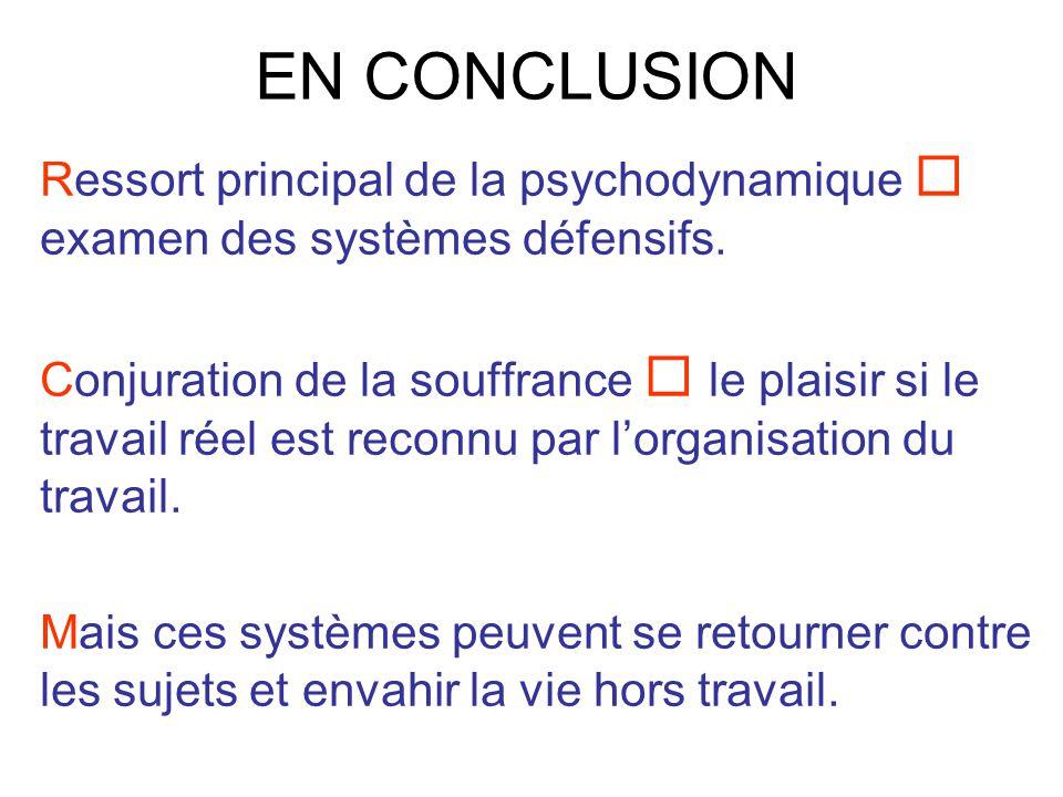 EN CONCLUSION Ressort principal de la psychodynamique  examen des systèmes défensifs.