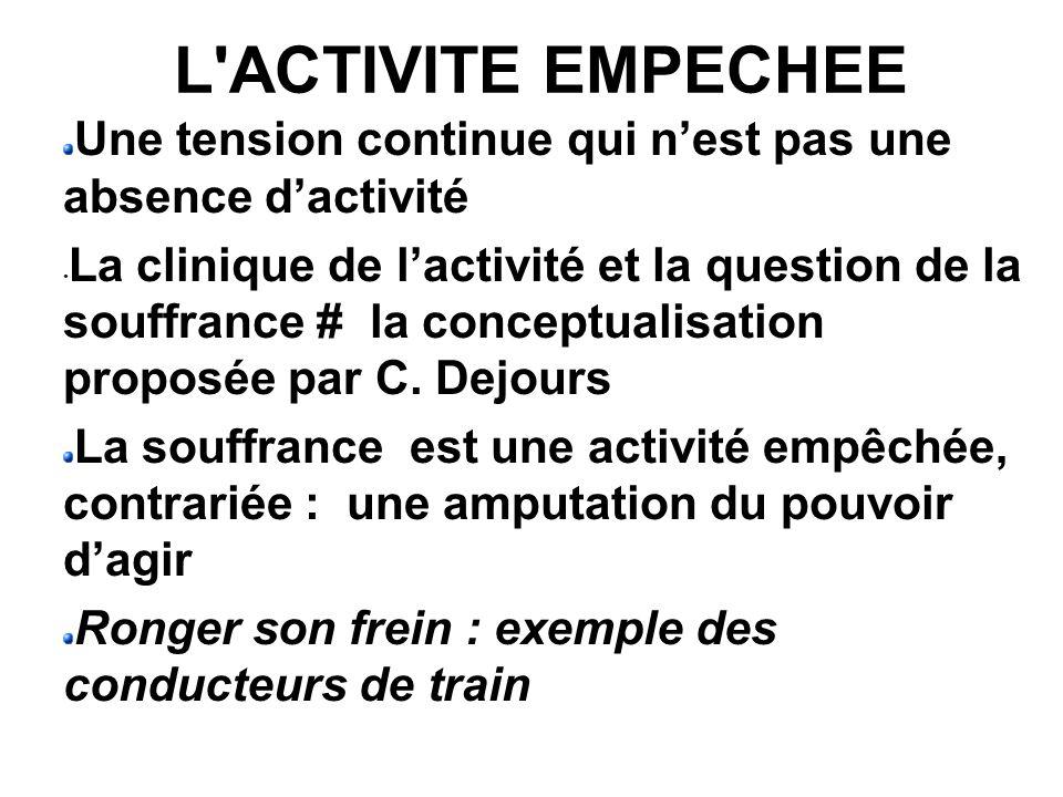 L ACTIVITE EMPECHEE Une tension continue qui n'est pas une absence d'activité.