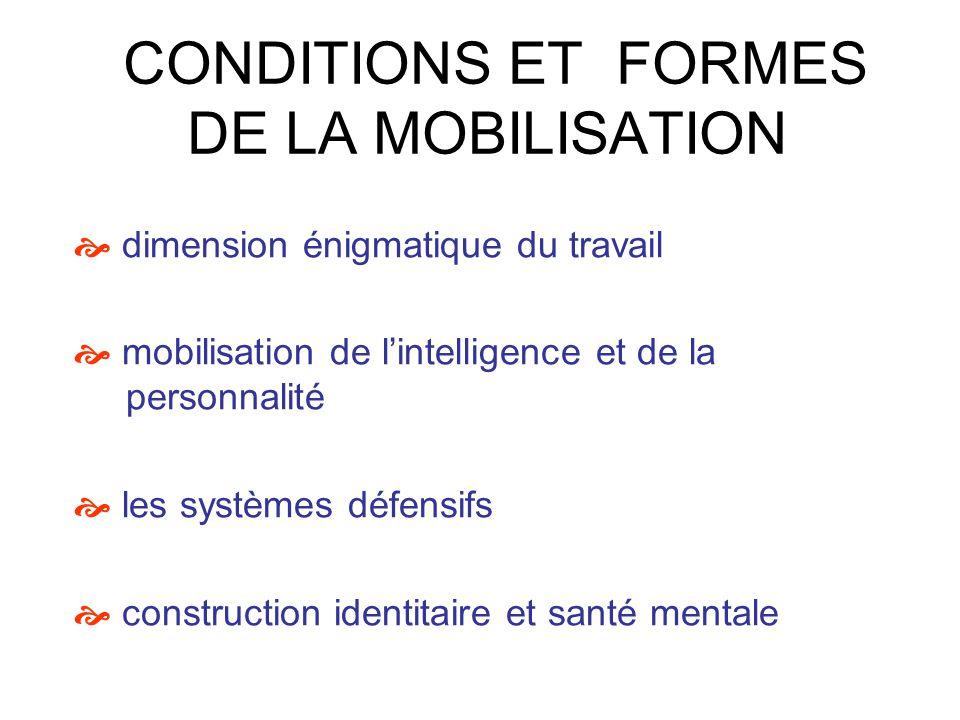 CONDITIONS ET FORMES DE LA MOBILISATION