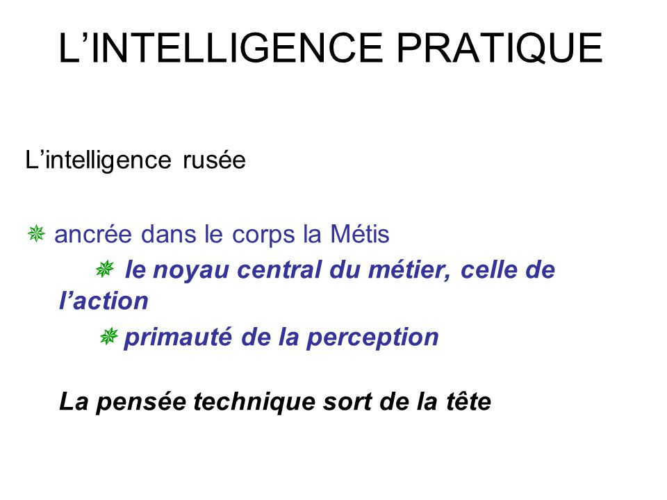 L'INTELLIGENCE PRATIQUE
