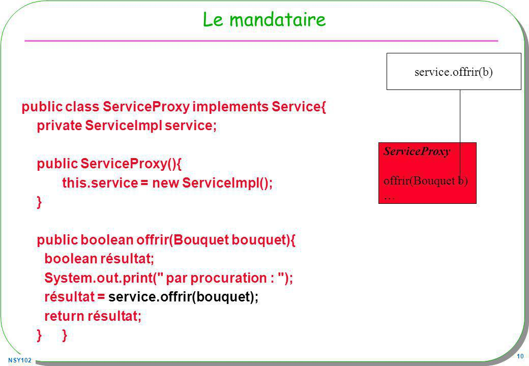 Le mandataire public class ServiceProxy implements Service{