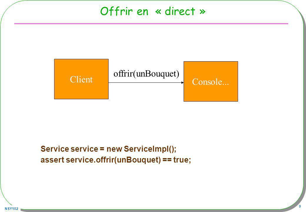 Offrir en « direct » Client offrir(unBouquet) Console...