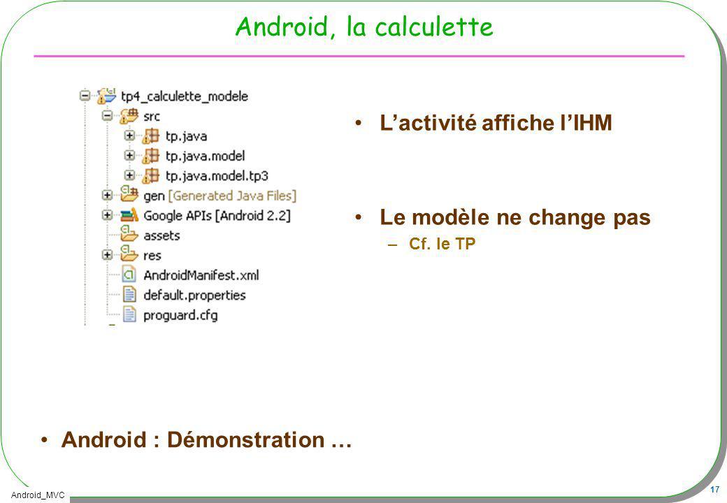 Android, la calculette L'activité affiche l'IHM