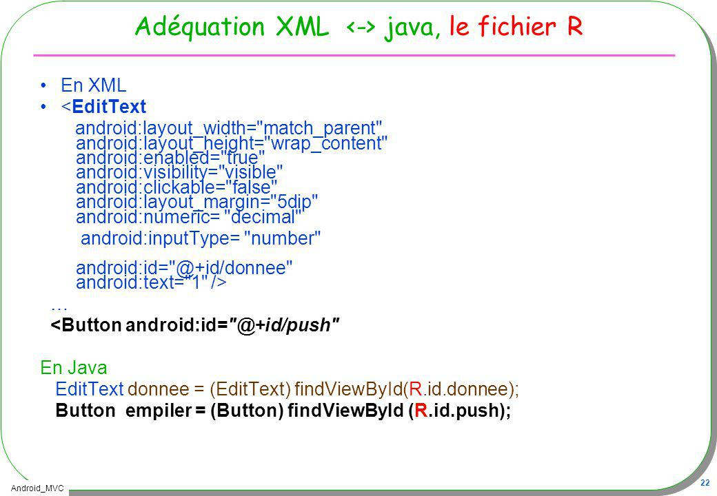 Adéquation XML <-> java, le fichier R