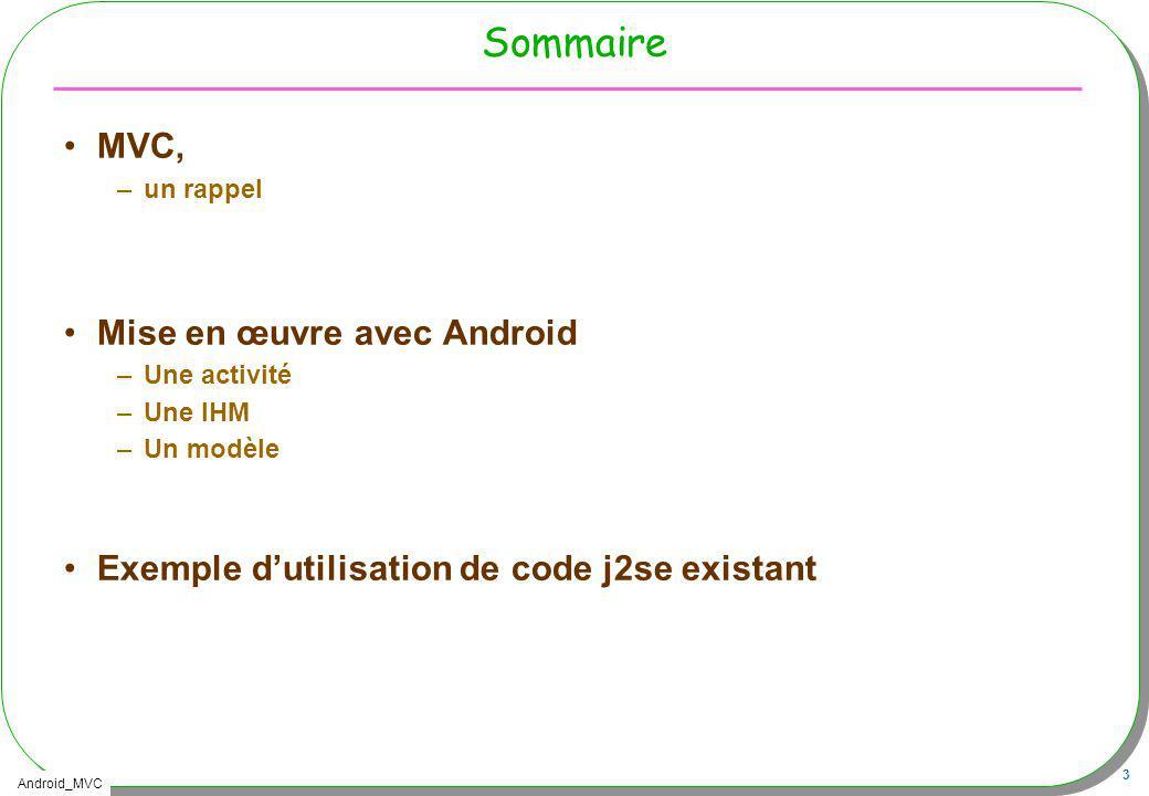 Sommaire MVC, Mise en œuvre avec Android