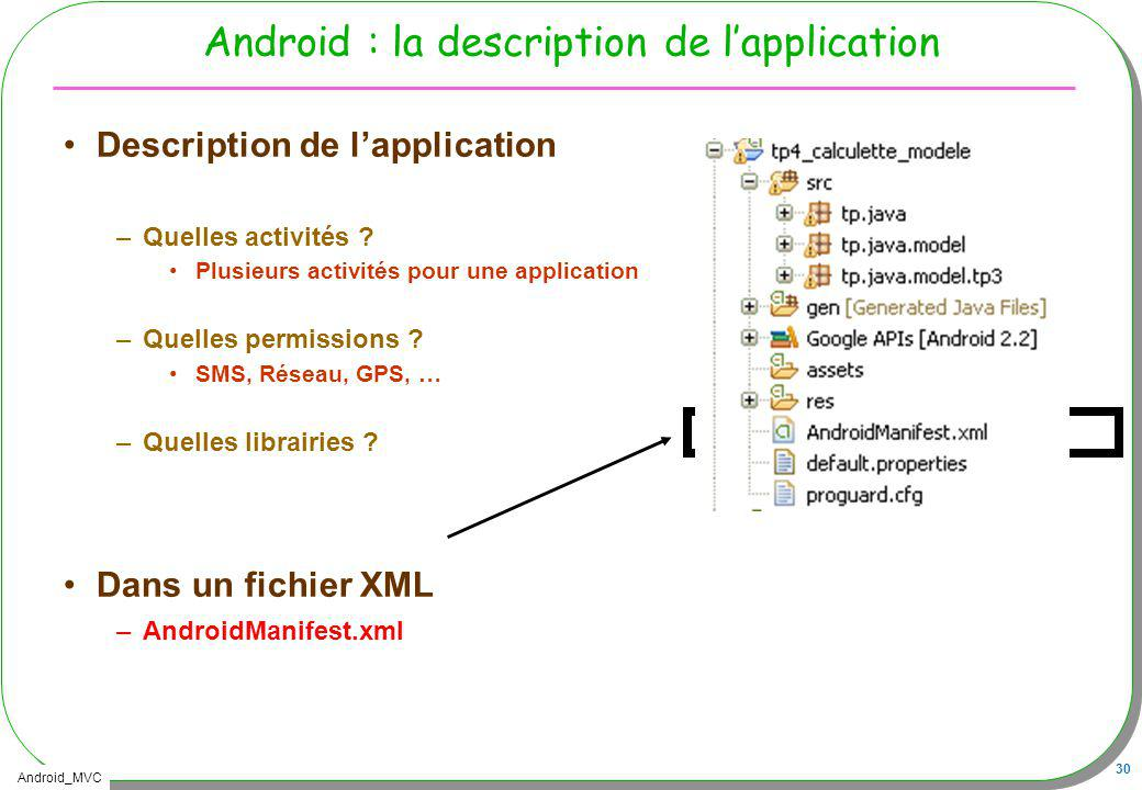 Android : la description de l'application