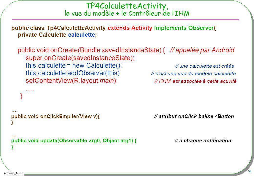 TP4CalculetteActivity, la vue du modèle + le Contrôleur de l'IHM