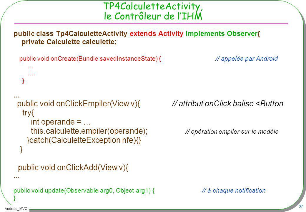 TP4CalculetteActivity, le Contrôleur de l'IHM