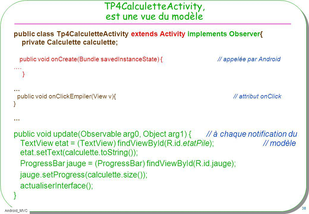 TP4CalculetteActivity, est une vue du modèle