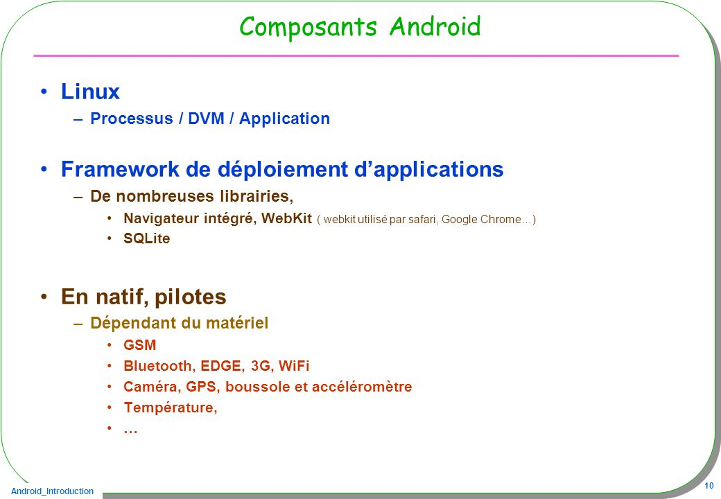 Composants Android Linux Framework de déploiement d'applications