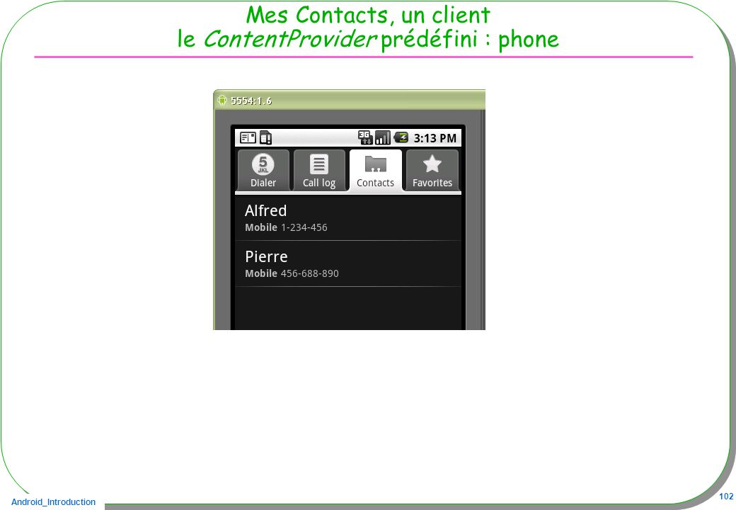 Mes Contacts, un client le ContentProvider prédéfini : phone