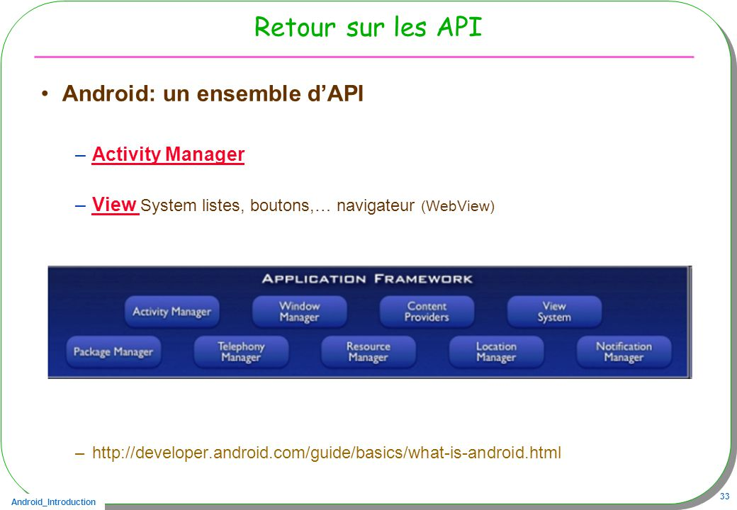 Retour sur les API Android: un ensemble d'API Activity Manager