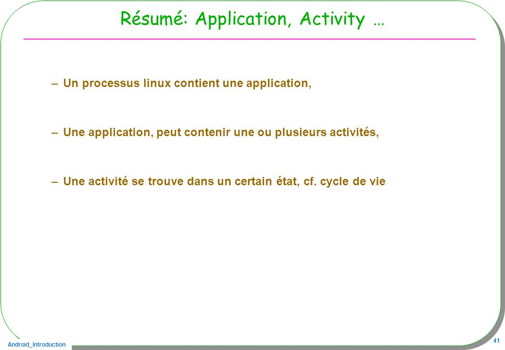 Résumé: Application, Activity …