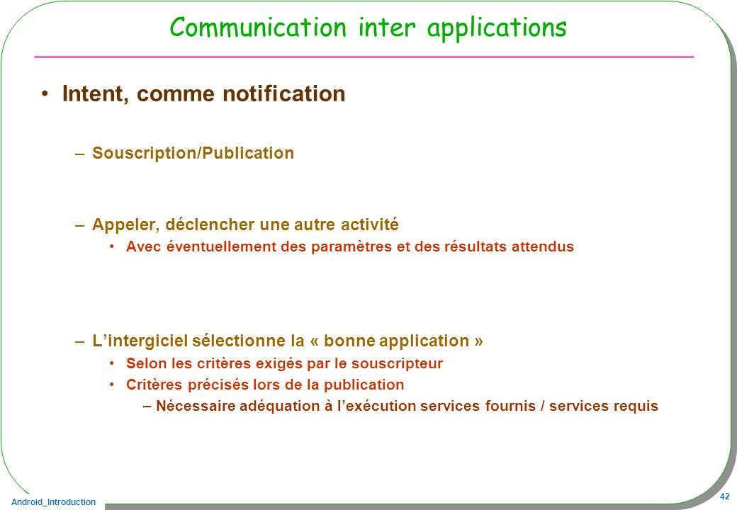 Communication inter applications