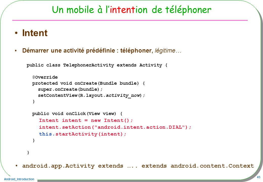 Un mobile à l'intention de téléphoner