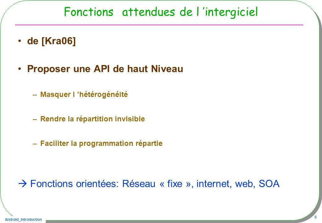 Fonctions attendues de l 'intergiciel
