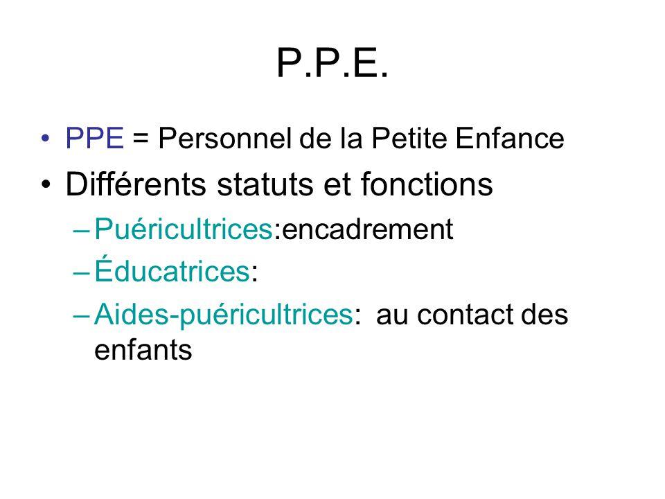 P.P.E. Différents statuts et fonctions