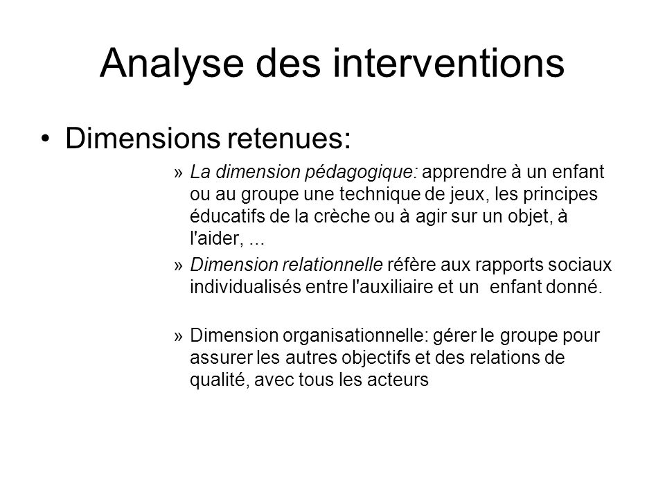 Analyse des interventions