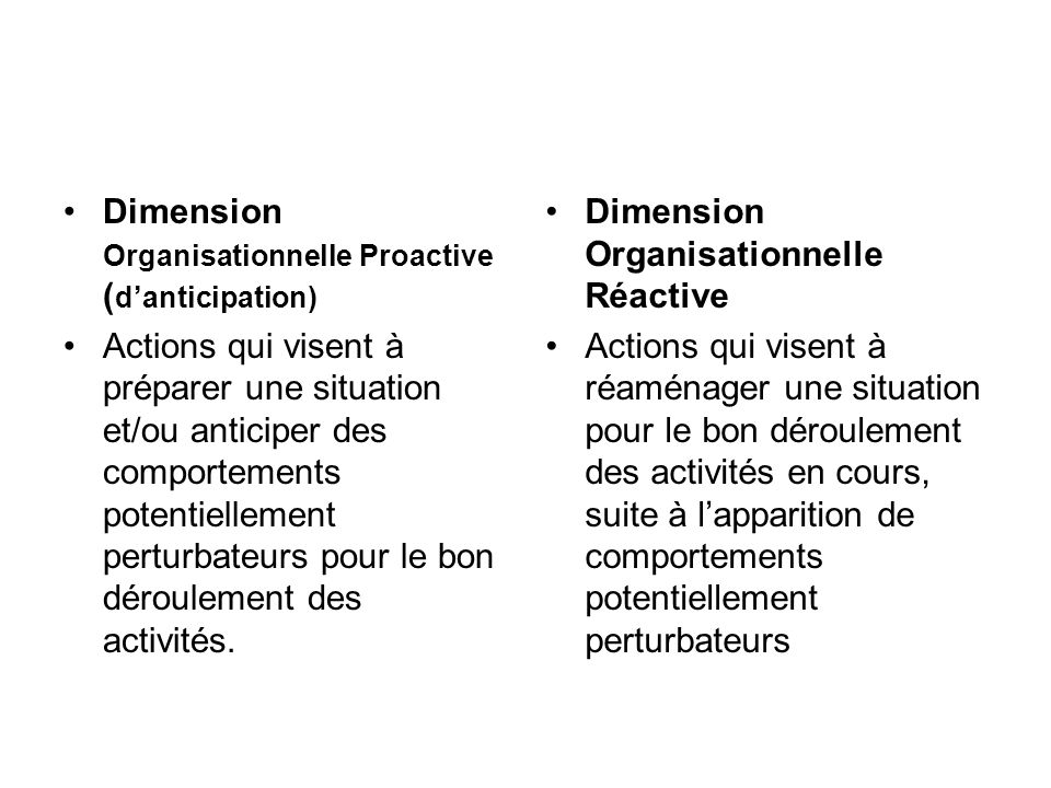Dimension Organisationnelle Proactive (d'anticipation)