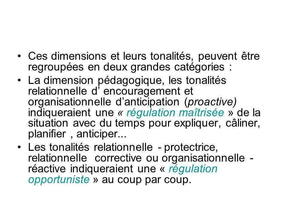 Ces dimensions et leurs tonalités, peuvent être regroupées en deux grandes catégories :
