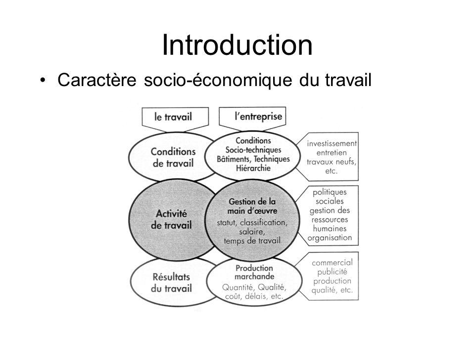 Introduction Caractère socio-économique du travail