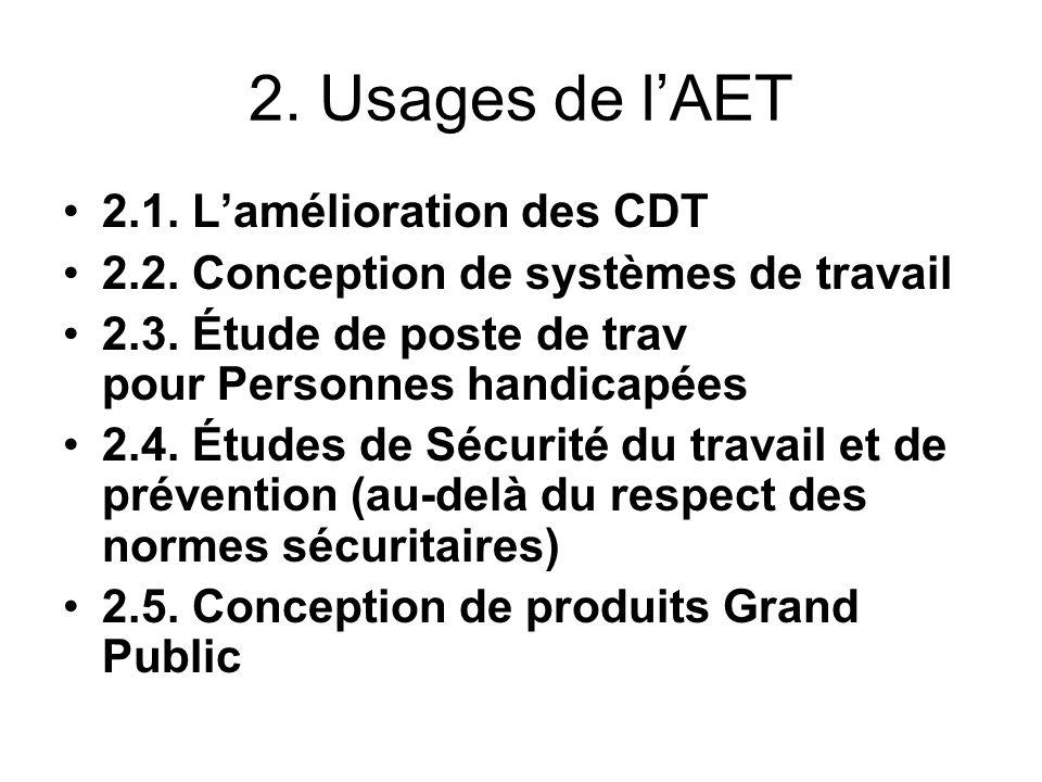 2. Usages de l'AET 2.1. L'amélioration des CDT