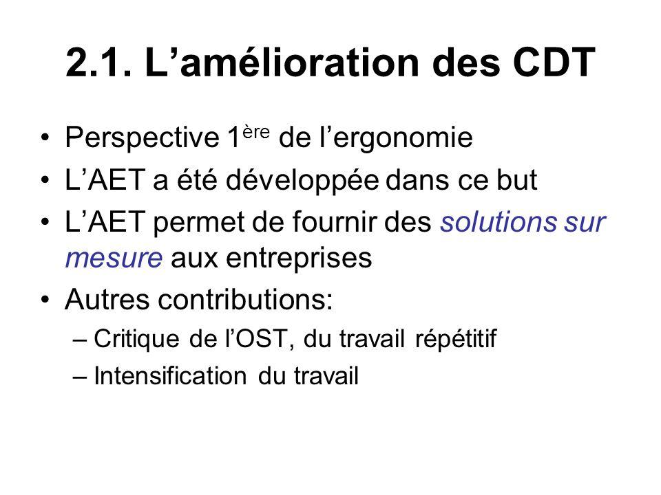 2.1. L'amélioration des CDT