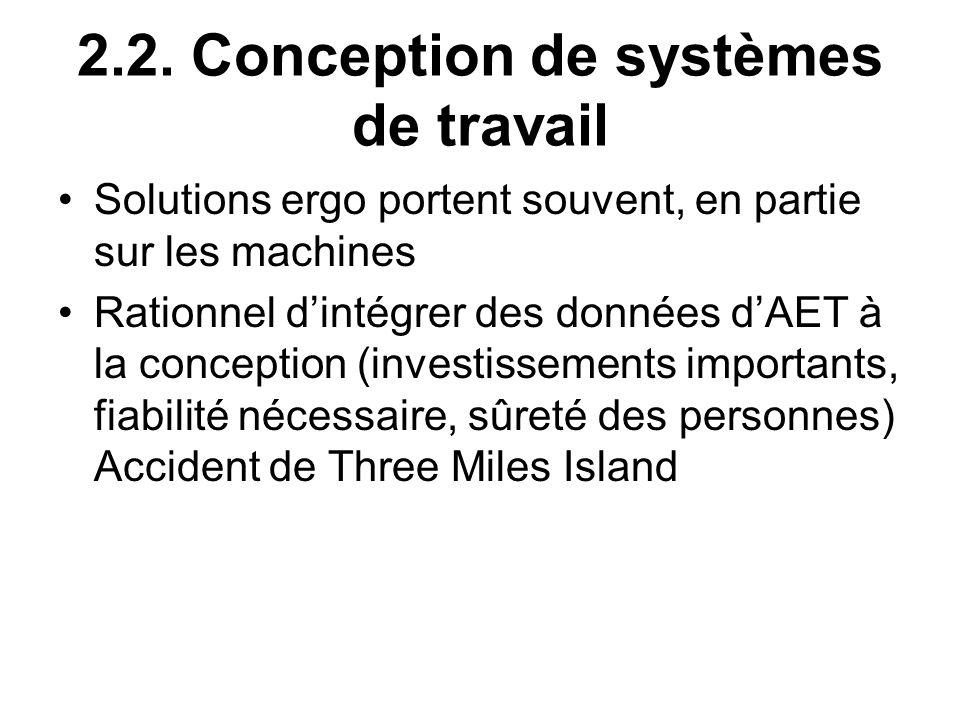 2.2. Conception de systèmes de travail