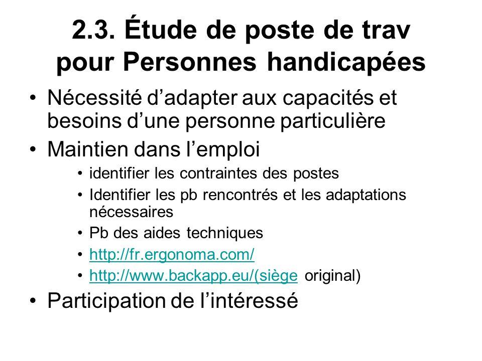 2.3. Étude de poste de trav pour Personnes handicapées
