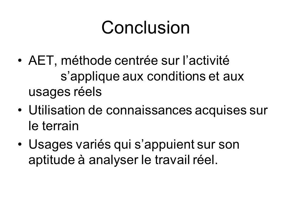 Conclusion AET, méthode centrée sur l'activité s'applique aux conditions et aux usages réels.